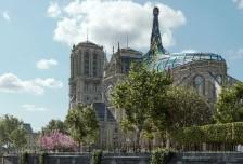 巴黎圣母院的另類概念設計:扭曲成尖塔的雕塑玻璃屋頂相關圖片