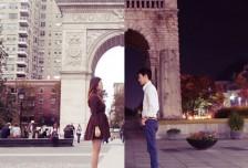 一對情侶的精彩合照,將異地拍攝的照片完美混搭相關圖片