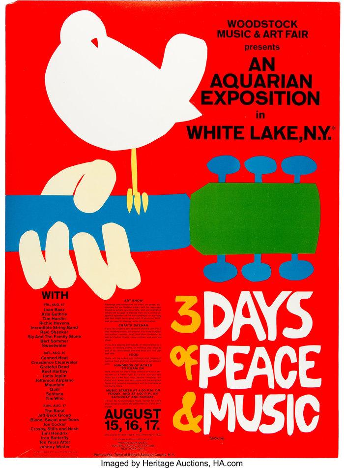 伍德斯托克音乐节(1969)官方海报设计的相关图片