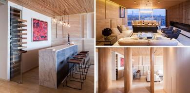 帶有木制天花板的優雅公寓設計