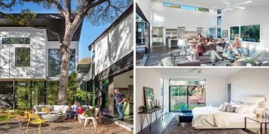 這個房子位于德克薩斯州,花紋瓷磚增加了藝術感