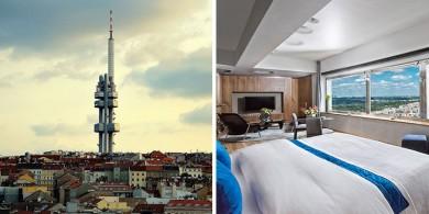 這座塔上有一個單人間酒店,可以俯瞰布拉格