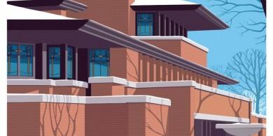 20世纪30年代风格的艺术海报,向赖特最著名的建筑致敬