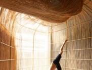 由藤条建造而成的蜿蜒建筑,是一座瑜伽圣殿