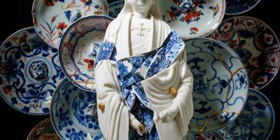 艺术家将破碎的陶瓷变成华丽的雕塑,的相关图片