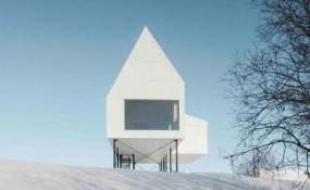 坐落在白雪皚皚的魁北克景觀之上的迷人房屋/Delordinaire