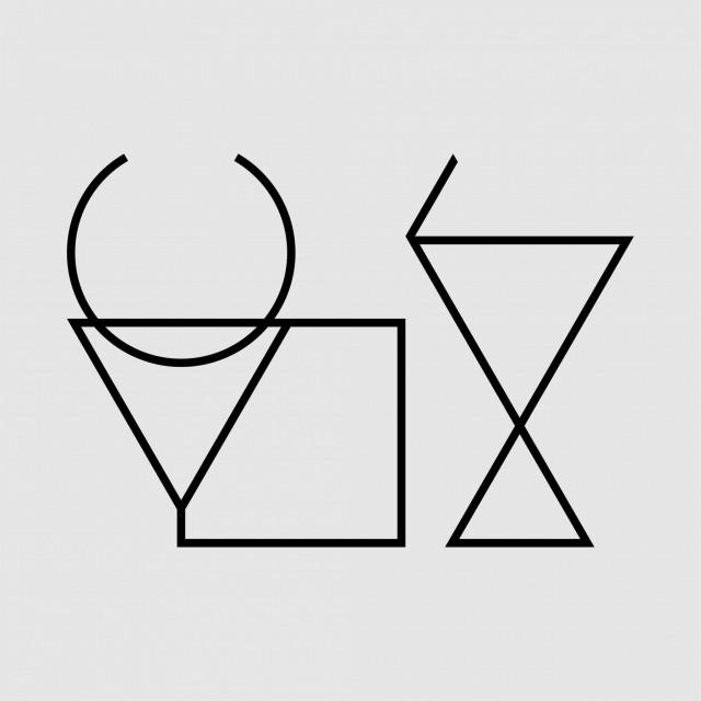 """牧一:以线条和几何图形组合成一个抽象的有角的动物形象(牛、羊等等)和一个高举棍棒的人的形象,分别表示着一个""""牛""""字和一个""""攴""""字,合起来为一个""""牧""""字。"""