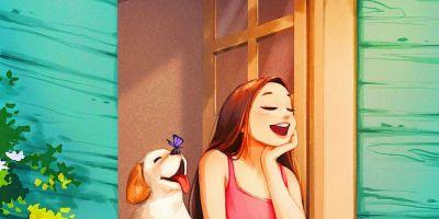 迷人的插圖捕捉了動物與主人互動的溫的相關圖片
