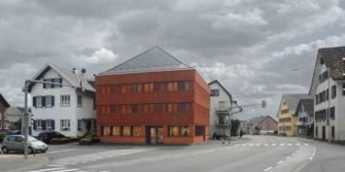 建筑师用生锈的红色木屋振兴德国莱茵河河谷镇